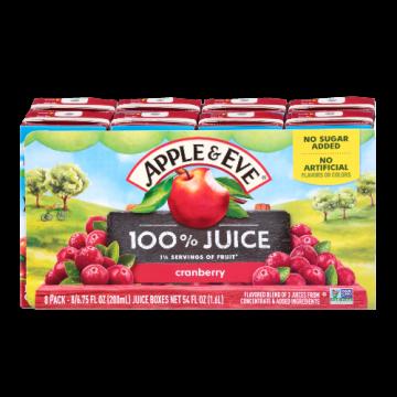 100% Juice- Naturally Cranberry Apple & Eve, 8 x 200 ml