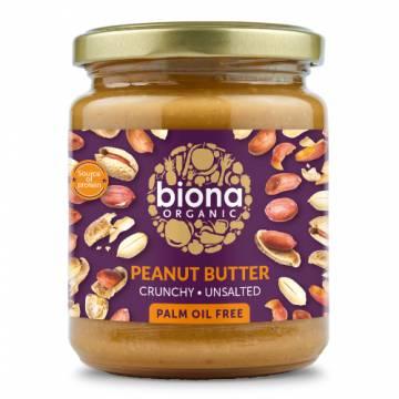 Biona Organic Peanut Butter Crunchy (Unsalted), 250g